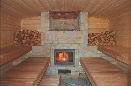 Wood fired sauna heater